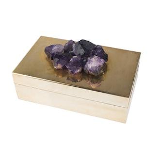 Aragon Brass And Amethyst Box