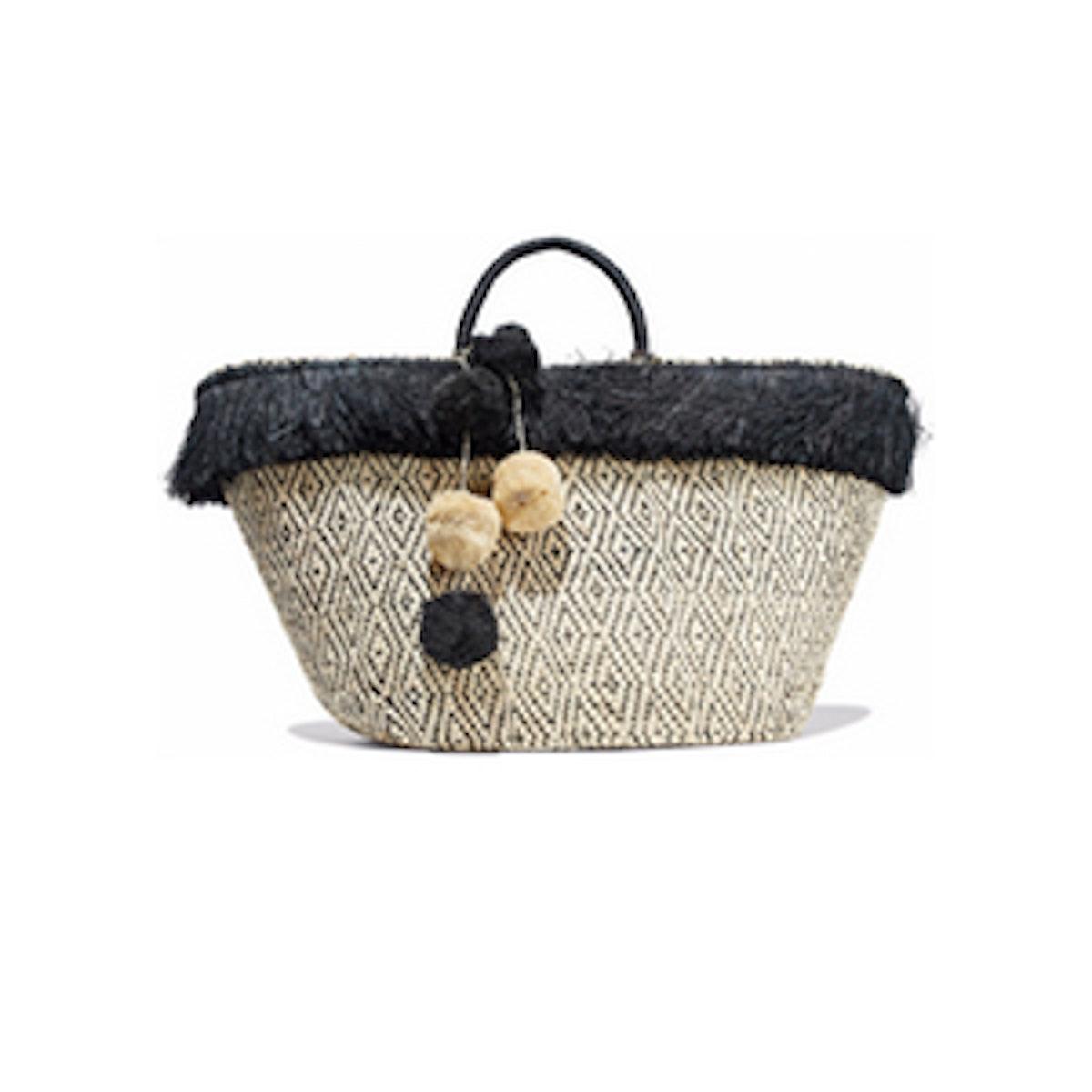Pompom-Embellished Fringed Woven Straw Tote