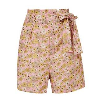 Floral-Print Linen Shorts