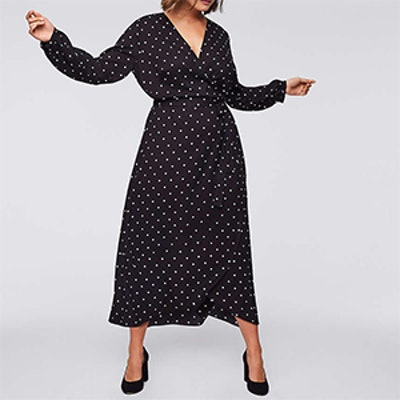 Plus Polka Dot Wrap Midi Dress