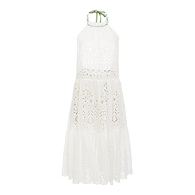 Luisa Beccaria Eyelet Halter Short Dress
