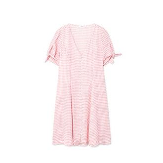 Check Pattern Midi Dress