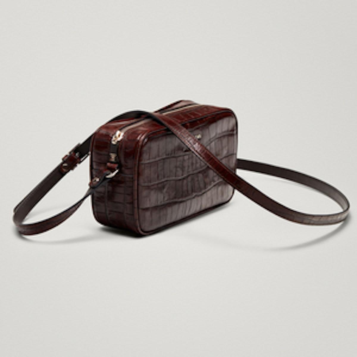 Leather Crossbody Bag With Mock Croc Finish