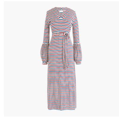 Jersey Long-Sleeve Maxi Dress in Stripe