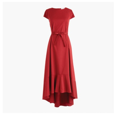 Poplin High-Low Maxi Dress