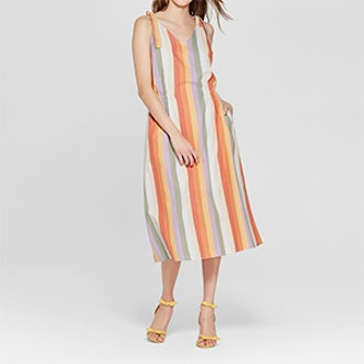 Mossimo Women's Striped Tie Shoulder V-Neck Midi Dress