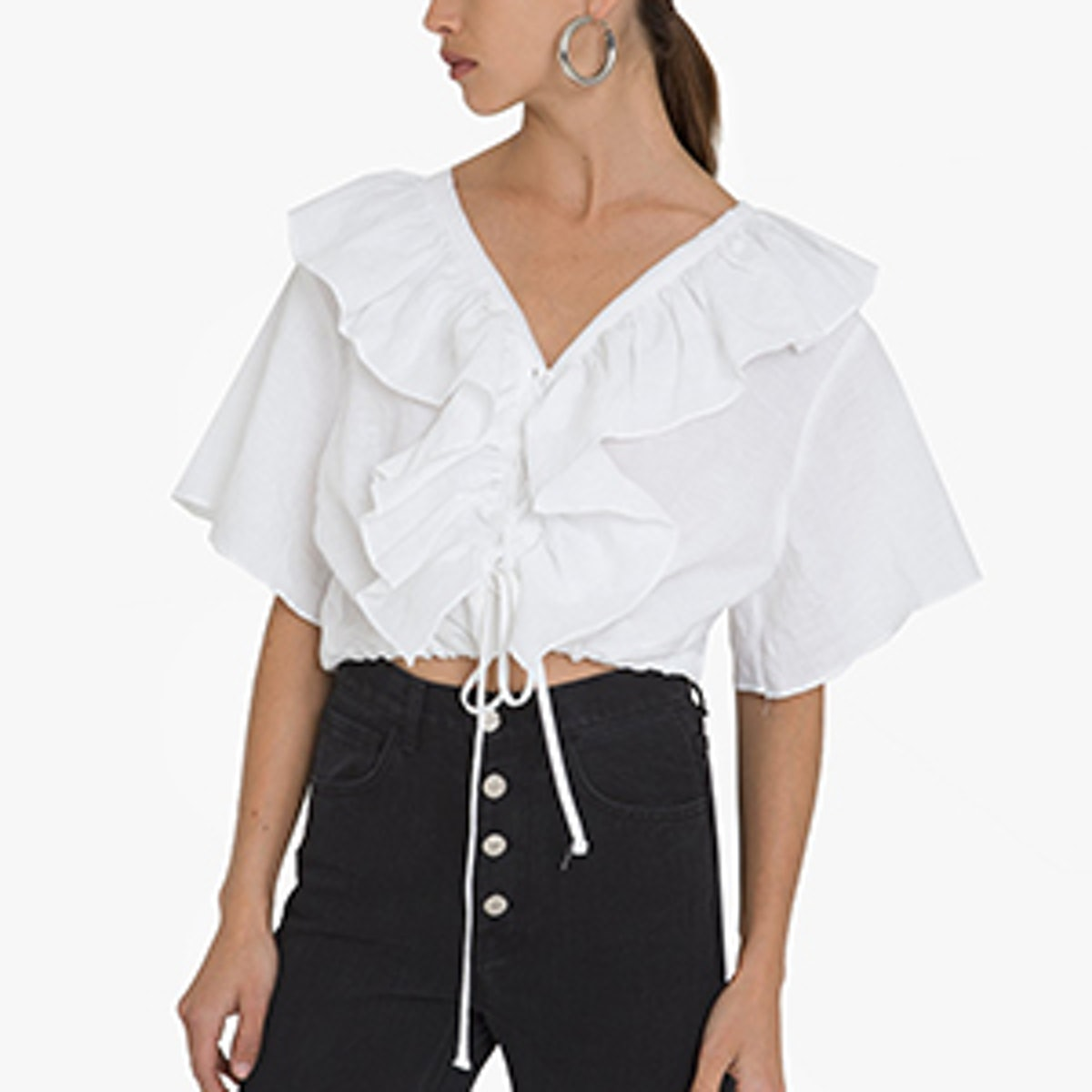 Line Frill Lace Up Tie Top