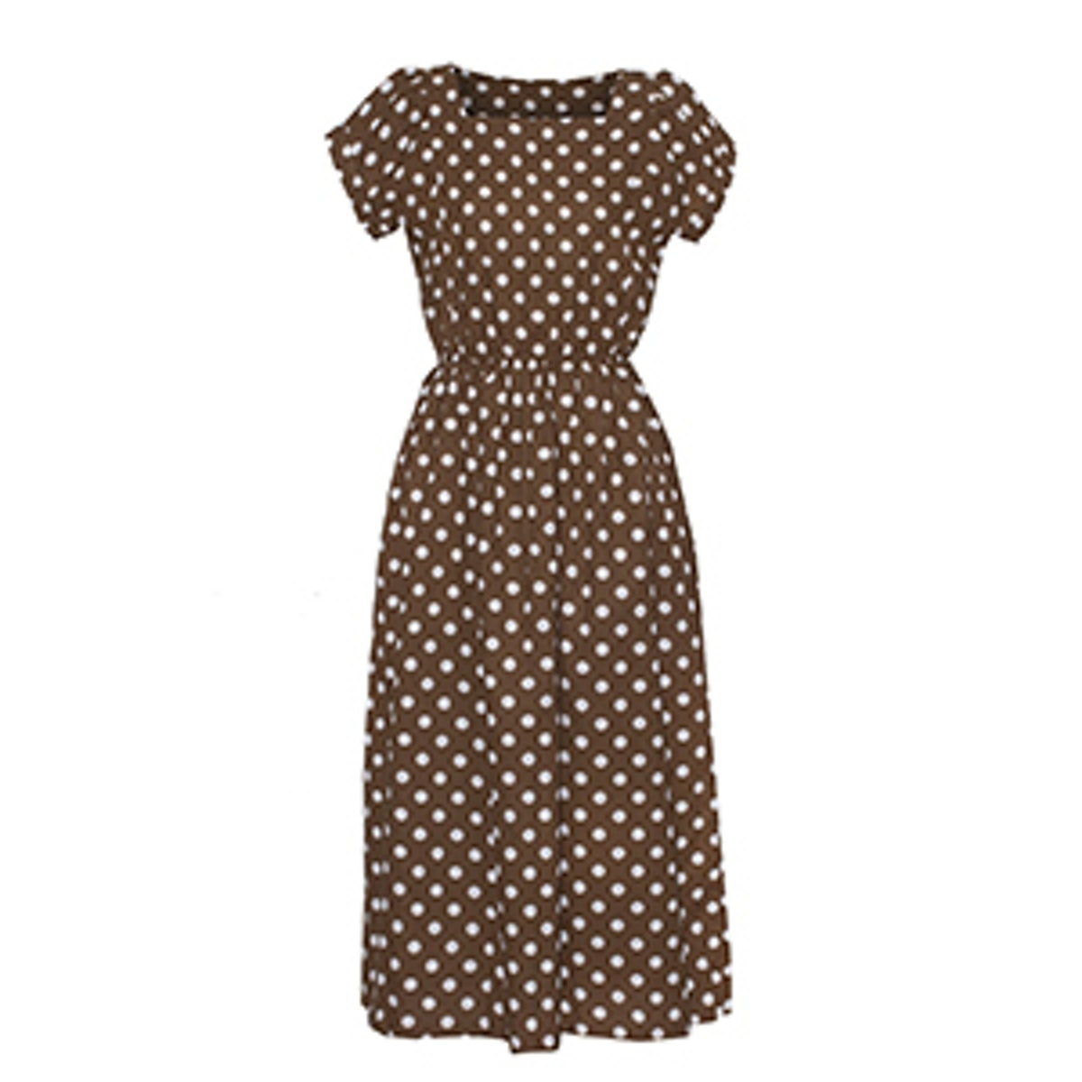 Brown Polka Dot Midi Dress