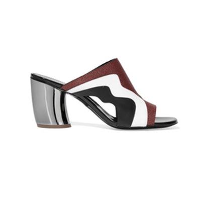 Cutout Matte, Patent and Textured-Leather Mules