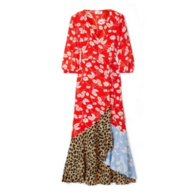 Noleen Paneled Printed Silk-Crepe Wrap Dress