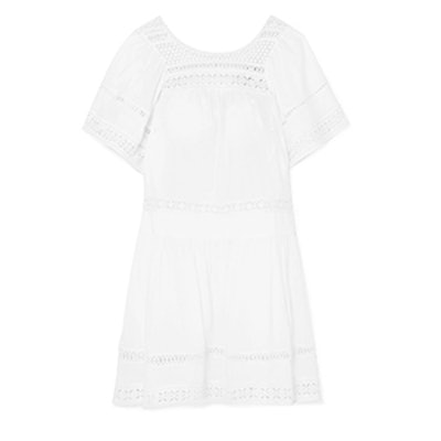Sea Aurora Crocheted-Paneled Cotton-Voile Mini Dress