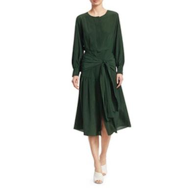 Sea Solange Long-Sleeve Belted Silk Midi Dress