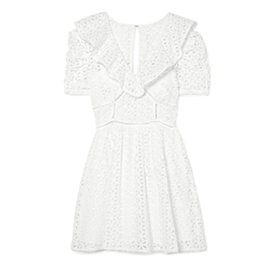 Self-Portrait Broderie Anglaise Cotton Mini Dress