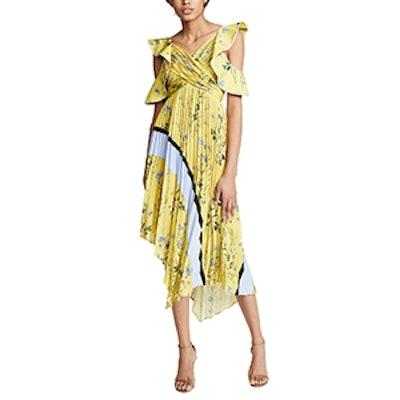 Self Portrait Pleated Asymmetric Floral Dress