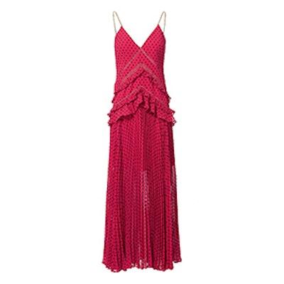 Fuchsia Plumetis Paneled Midi Dress