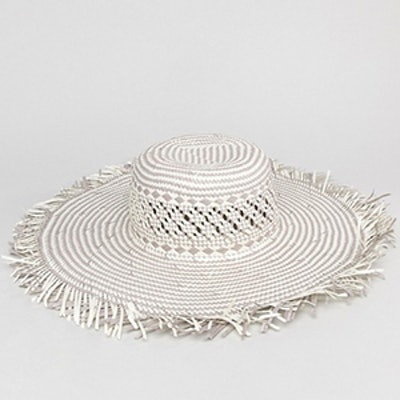 South Beach Woven Straw Hat With Frayed Edge