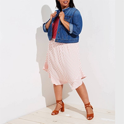 Plus Striped Ruffle Hem Skirt