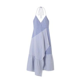 Striped Cotton-Blend Poplin Halterneck Dress