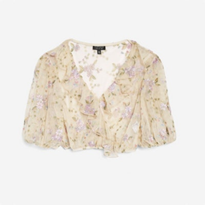 Embroidered Mesh Crop Ruffle Top