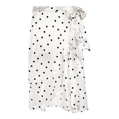 Satin Spot Ruffled Skirt