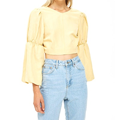 Tie Back Balloon Sleeve Blouse