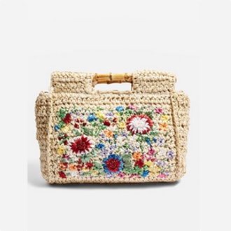Embroidered Bamboo Tote Bag