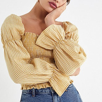 Gingham Cinched-Sleeve Blouse