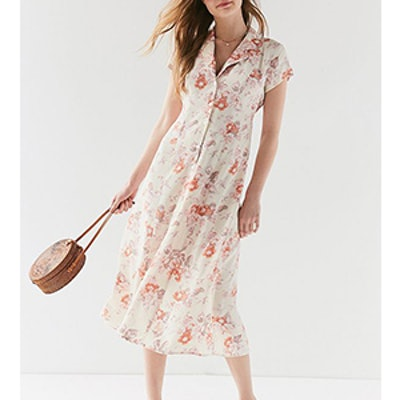 Remnants Floral Button-Down Midi Dress