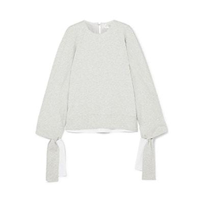 Tie-detailed stretch-jersey sweatshirt Tie-Detailed Stretch-Jersey Sweatshirt