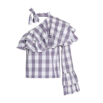 One-Shoulder Ruffled Gingham Cotton-Poplin Top