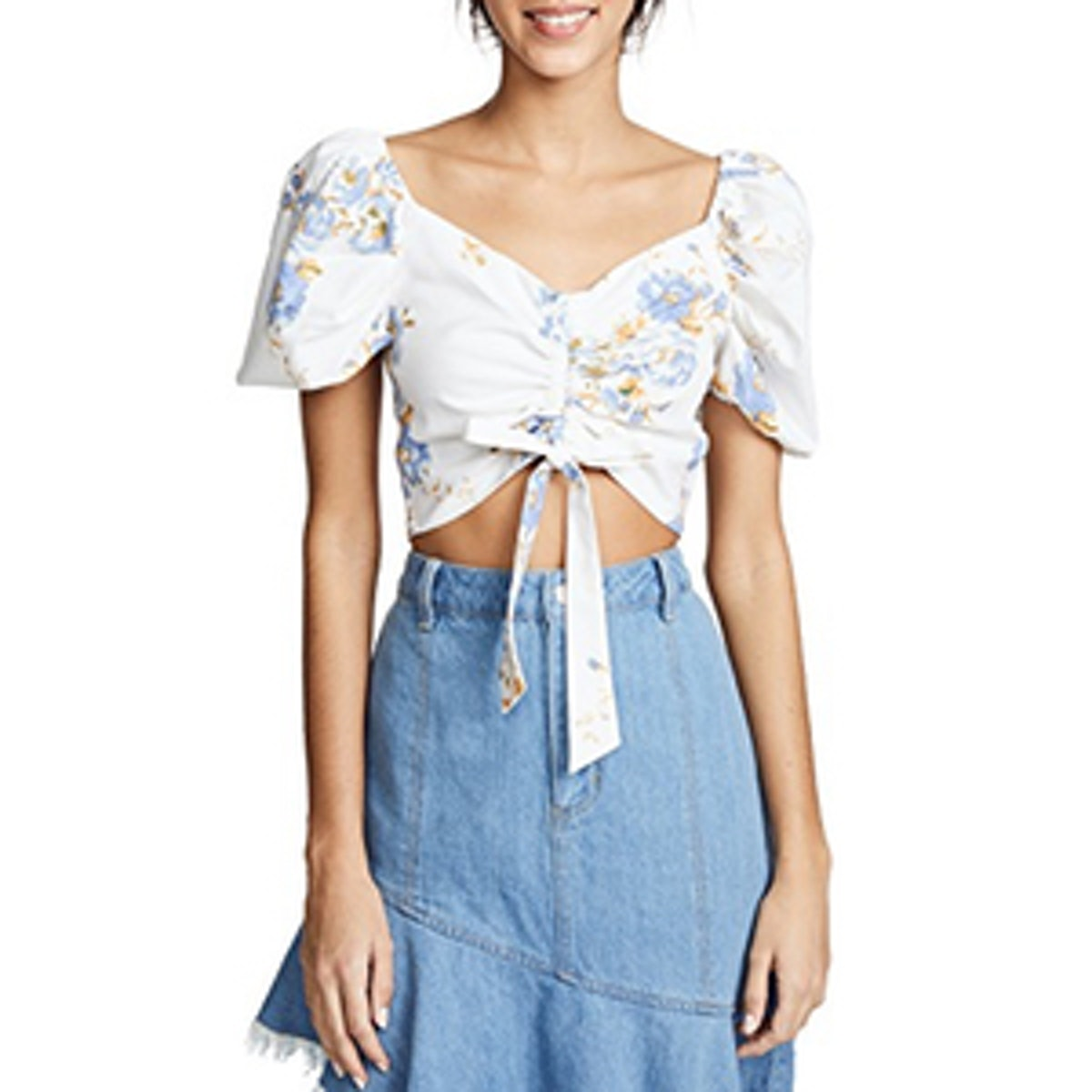 WAYF Cesena Ruched Puff Sleeve Top