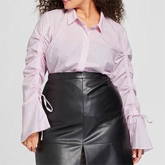Women's Plus Size Long Sleeve Drawstring Top