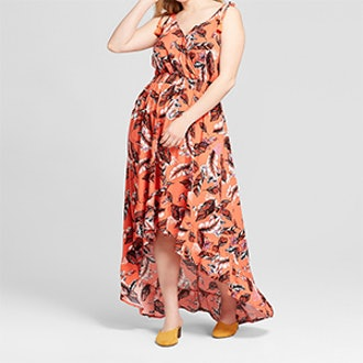 Xhilaration Women's Plus Size Floral Print V-Neck High – Low Dress