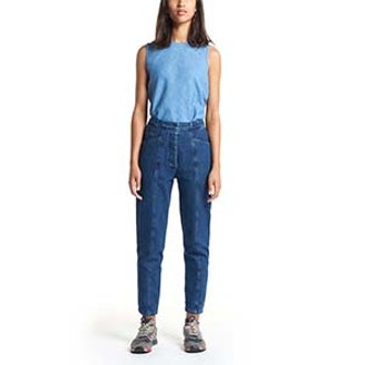 5 Pocket Pants With Front Cuts In Stoned Denim