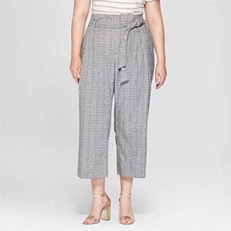 Women's Plus Size Plaid Tie Waist Crop Pants