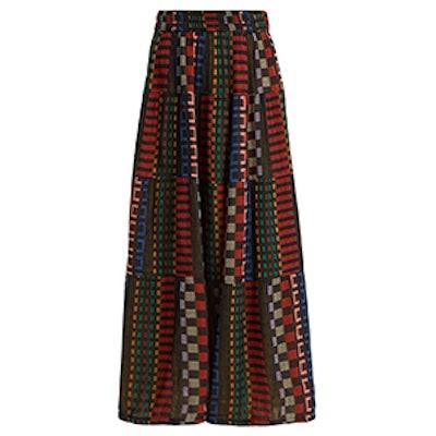 Panelled Cotton-Blend Skirt