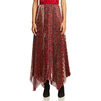 Katz Metallic Leopard Print Pleated Maxi Skirt