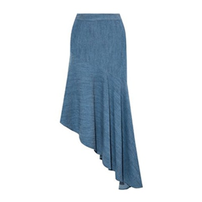 Molina Asymmetric Chambray Midi Skirt