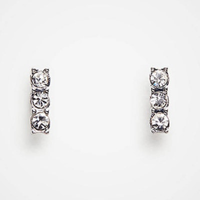 Pave Bar Stud Earrings