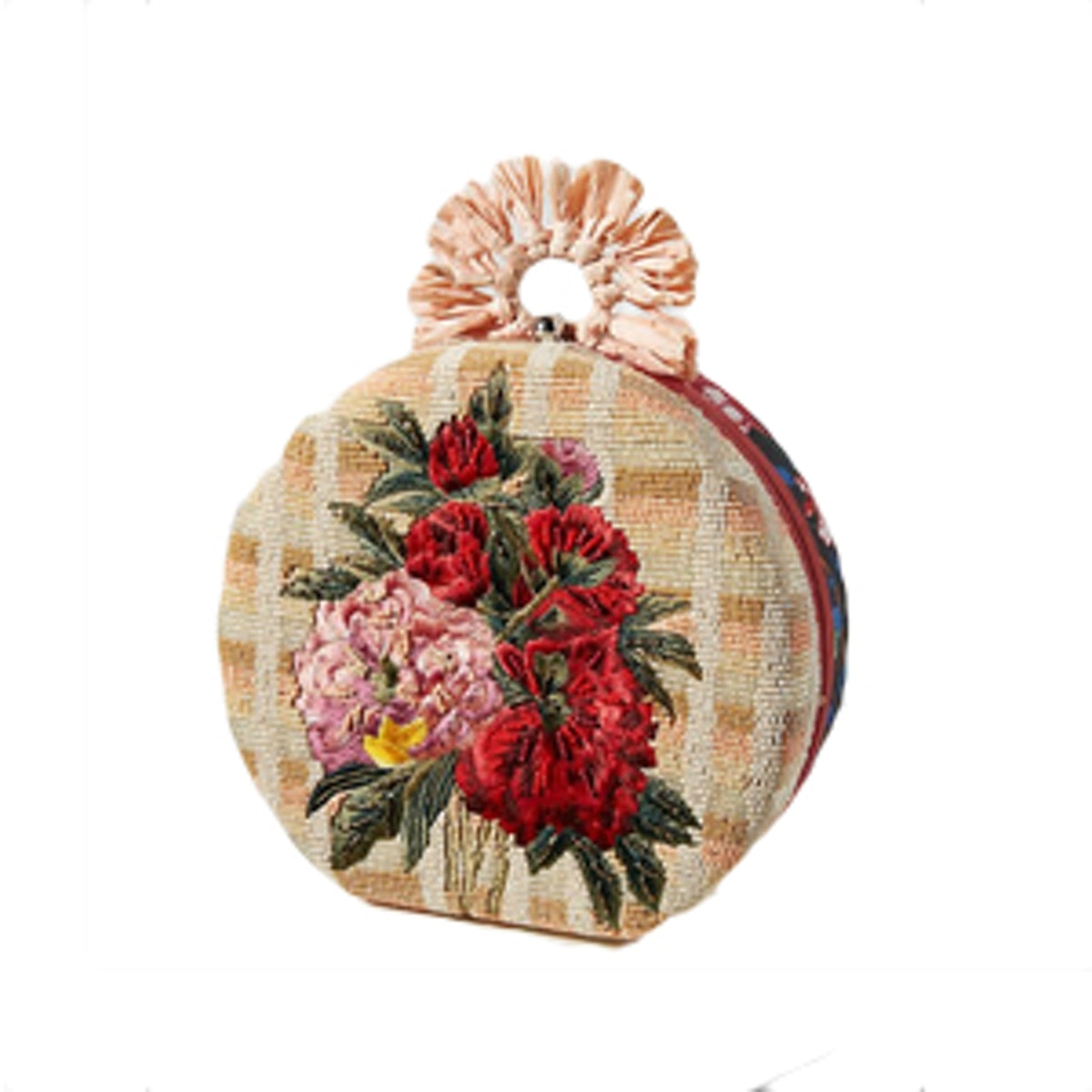 Floral Embroidered Circle Clutch