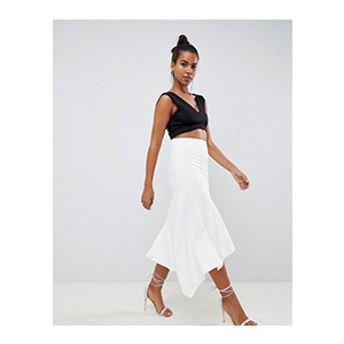 Tailored Pencil Skirt with Asymmetric Ruffle