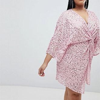 Curve Sequin Kimono Mini Dress