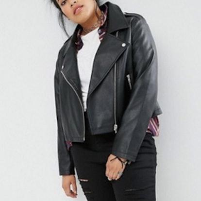 Curve Ultimate Leather Look Biker Jacket