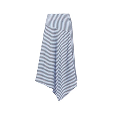 TibiAsymmetric Striped Midi Skirt