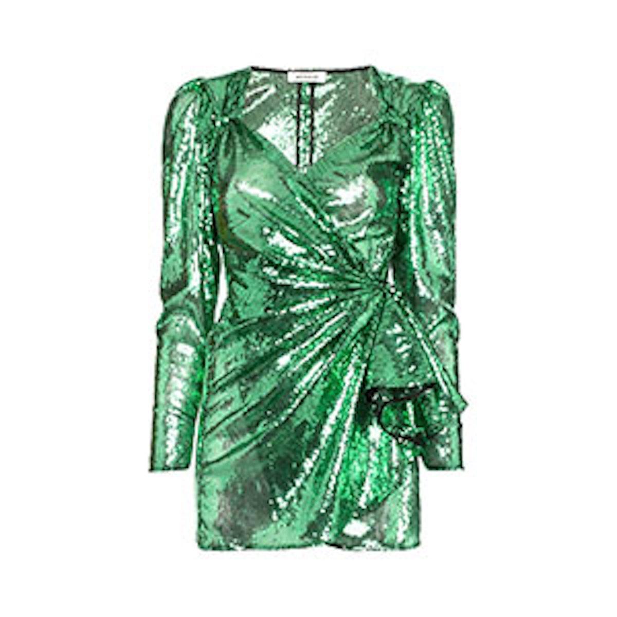 Attico Sweetheart Sequin Draped Mini Dress