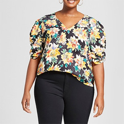 Ava & Viv Plus Size Floral Print Pleated Short Sleeve Top
