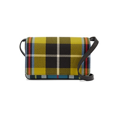 Checked Twill And Textured-Leather Shoulder Bag