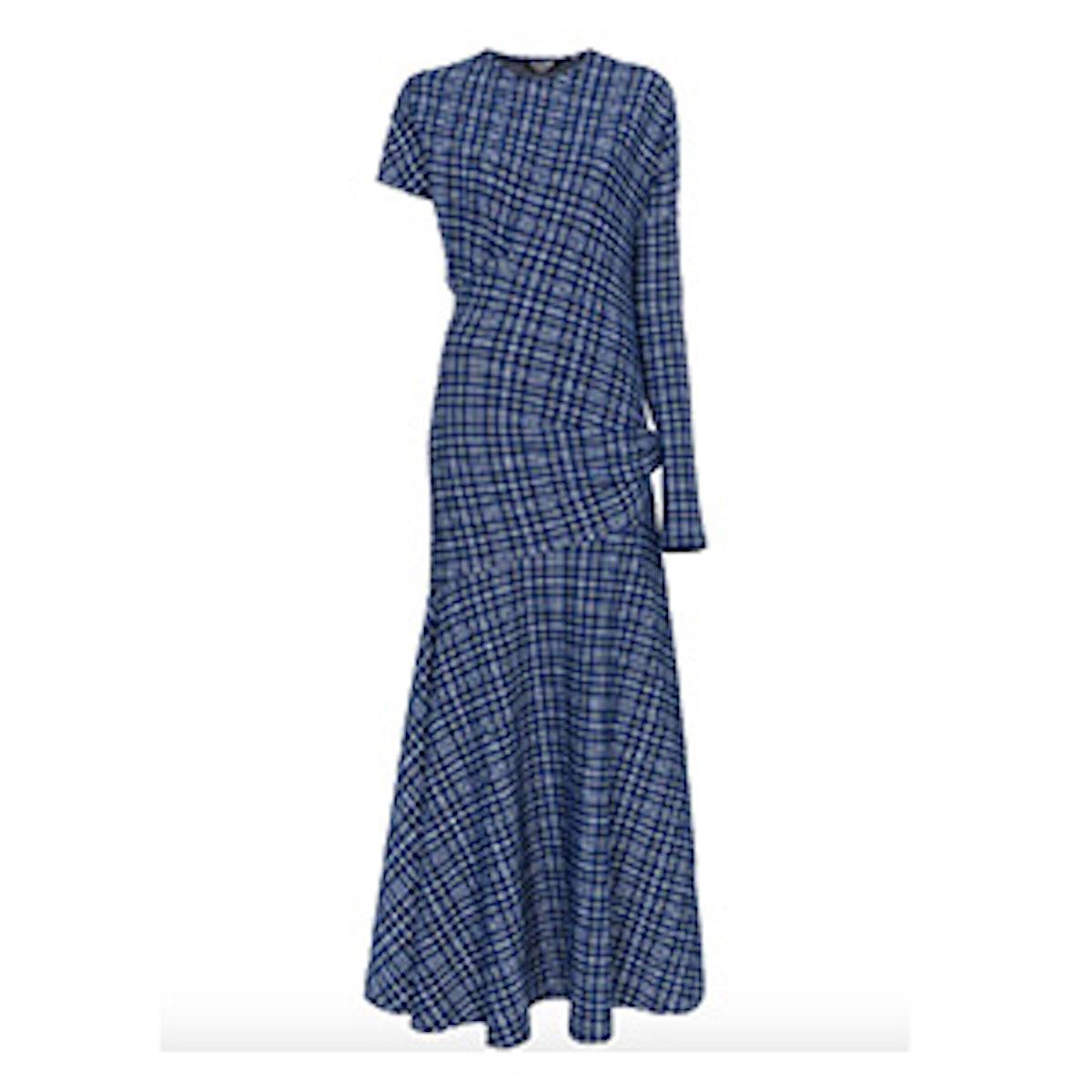 Single Sleeve Check Asymmetric Dress
