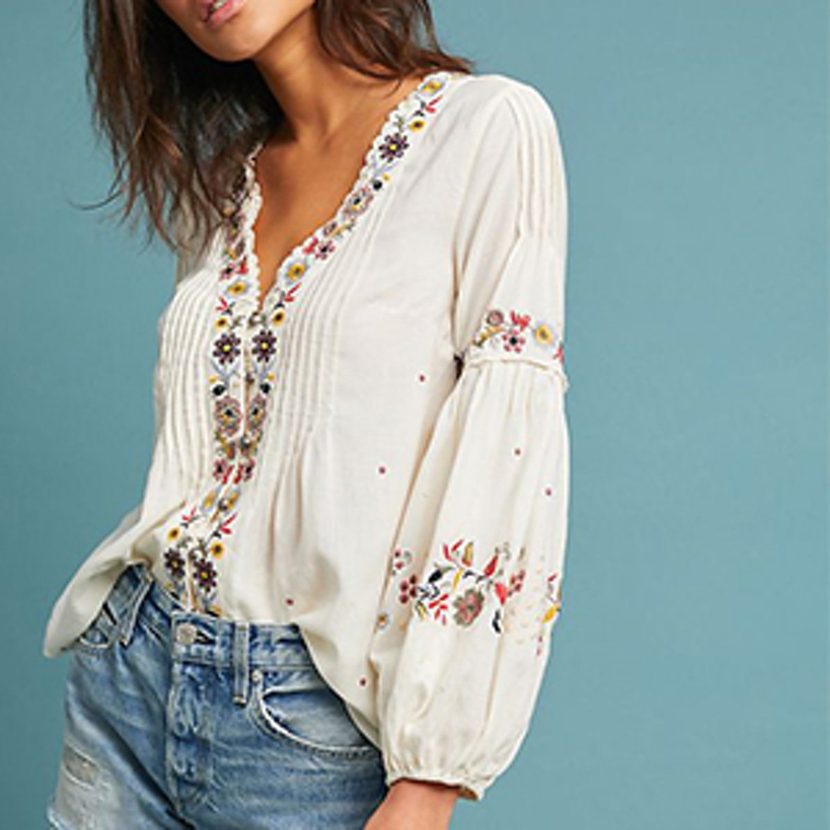 Carthage Embroidered Peasant Top