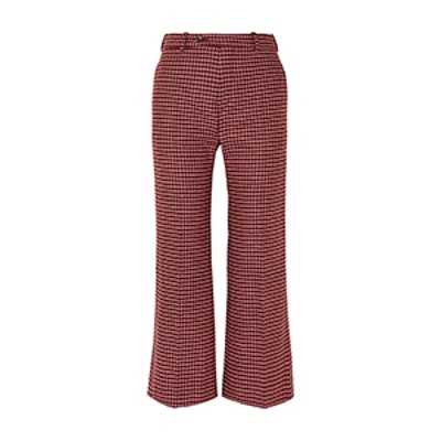 Cropped Checked Wool-Blend Wide-Leg Pants